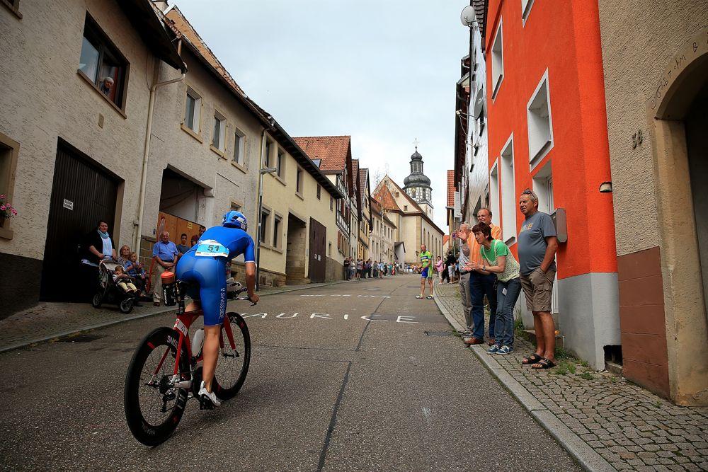 KRAICHGAU, GERMANY - JUNE 05: An athlete takes part in the bike leg of the Kraichgau Ironman 70.3 on June 5, 2016 in Kraichgau, Germany. (Photo by Ben Hoskins/Getty Images) (Photo by Ben Hoskins/Getty Images for Ironman)