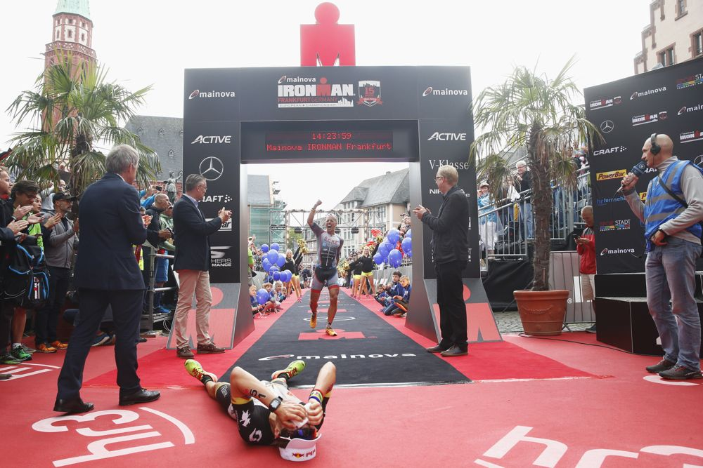 FRANKFURT, GERMANY - JULY 03:  Andreas Boecherer of Germany celebrates after his second place during the IRONMAN European Championships on July 03, 2016 in Frankfurt, Germany  (Photo by Joern Pollex/Getty Images for Ironman)