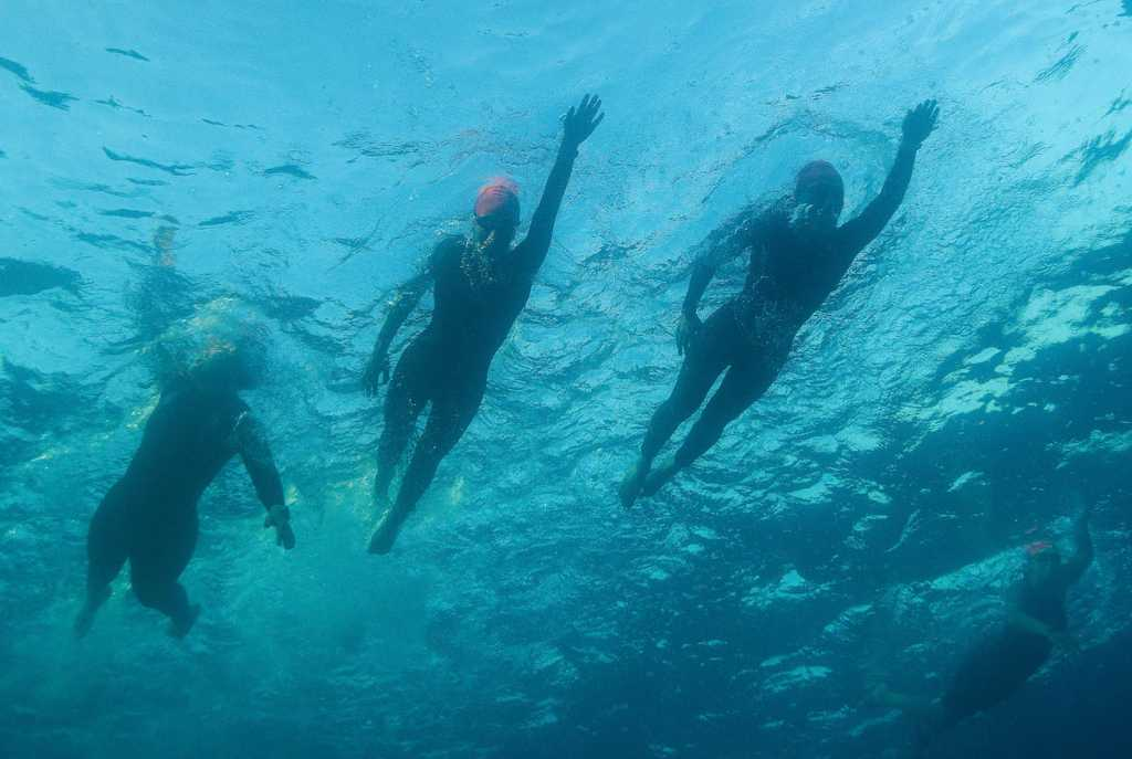 NICE, FRANCE - SEPTEMBER 07: Athletes compete during the swim section of Ironman 70.3 World Championship Women's race on September 7, 2019 in Nice, France. (Photo by Nigel Roddis/Getty Images for IRONMAN)