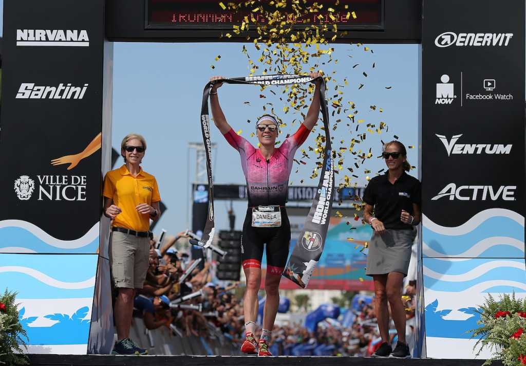 NICE, FRANCE - SEPTEMBER 07: Daniela Ryf of Switzerland celebrates winning the Ironman 70.3 World Championship Women's race on September 7, 2019 in Nice, France. (Photo by Nigel Roddis/Getty Images for IRONMAN)