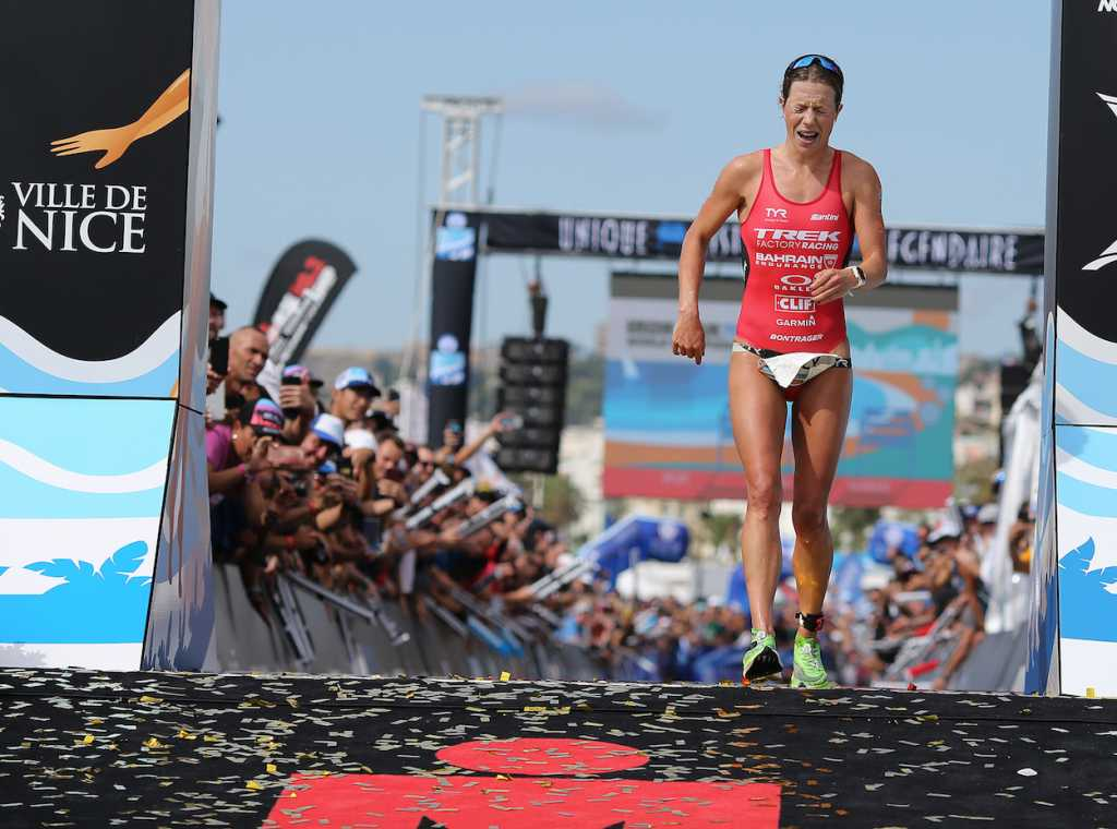 NICE, FRANCE - SEPTEMBER 07: Holly Lawrence of Britain reacts after finishing 2nd in the Ironman 70.3 World Championship Women's race on September 7, 2019 in Nice, France. (Photo by Nigel Roddis/Getty Images for IRONMAN)