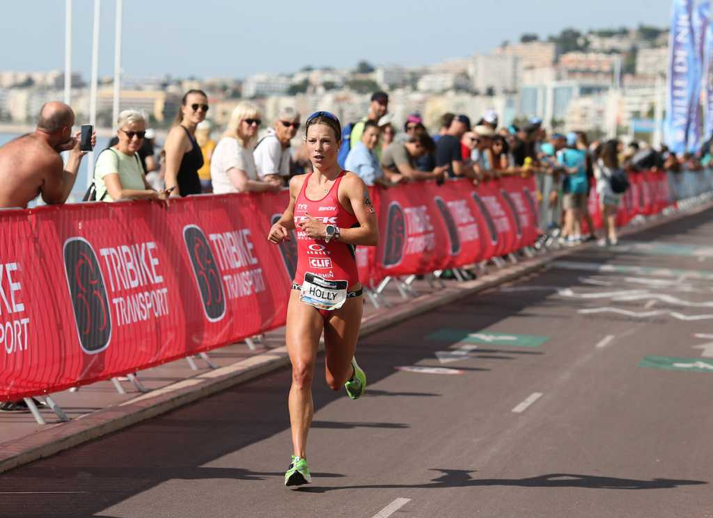 NICE, FRANCE - SEPTEMBER 07: Holly Lawrence of Britain competes in the run section of Ironman 70.3 World Championship Women's race on September 7, 2019 in Nice, France. (Photo by Nigel Roddis/Getty Images for IRONMAN)