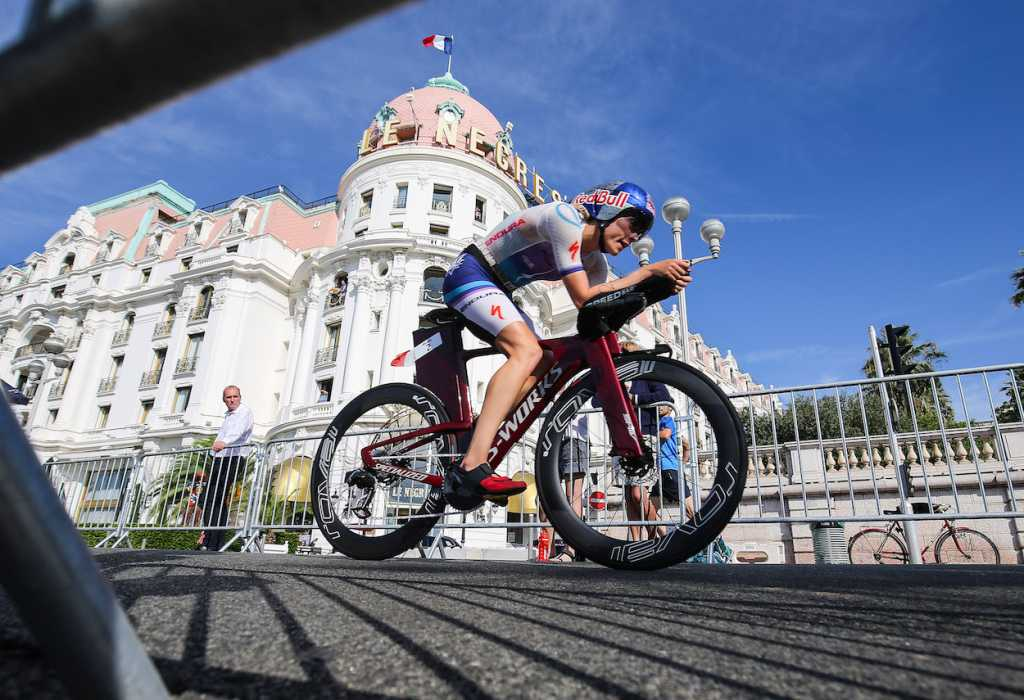 NICE, FRANCE - SEPTEMBER 07: Lucy Charles-Barclay of Britain competes during the bike section of Ironman 70.3 World Championship Women's race on September 7, 2019 in Nice, France. (Photo by Nigel Roddis/Getty Images for IRONMAN)