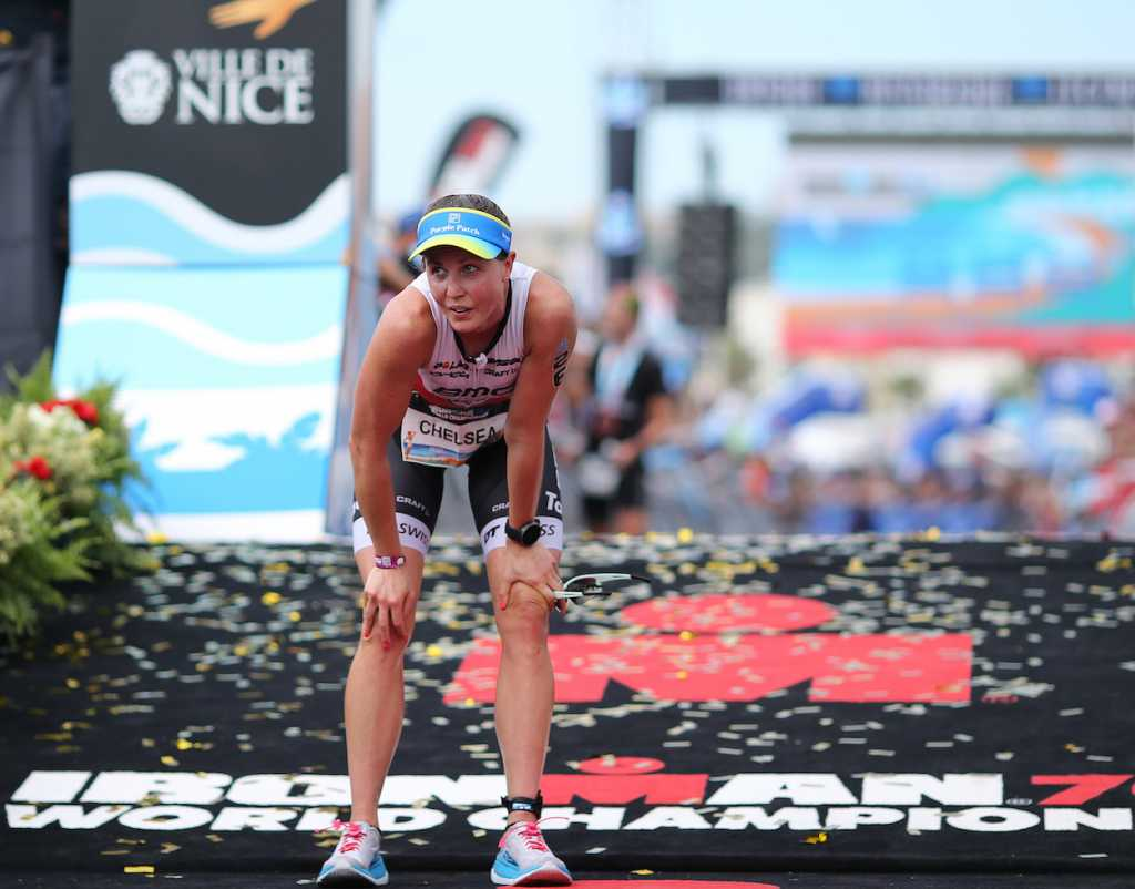NICE, FRANCE - SEPTEMBER 07: Chelsea Sodaro reacts after finishing Ironman 70.3 World Championship Women's race on September 7, 2019 in Nice, France. (Photo by Nigel Roddis/Getty Images for IRONMAN)