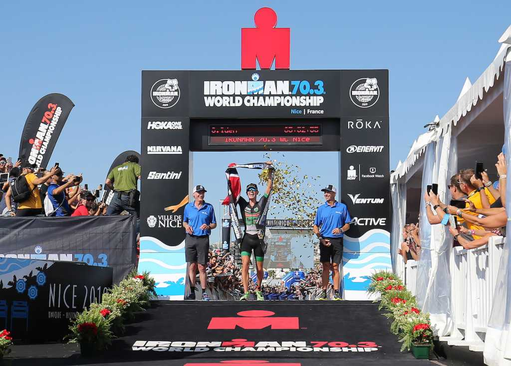 NICE, FRANCE - SEPTEMBER 08:  Gustav Iden of Norway celebrates winning Ironman 70.3 World Championship Men's race on September 8, 2019 in Nice, France. (Photo by Nigel Roddis/Getty Images for IRONMAN)