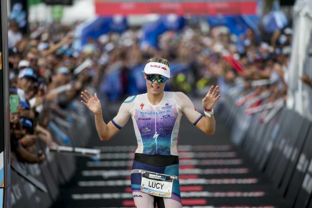 NICE, FRANCE - SEPTEMBER 07: Lucy Charles-Barclay of Great Britain reacts after crossing the finish line of the IRONMAN 70.3 World Championship in Nice on September 07, 2019 in Nice, France. (Photo by Jan Hetfleisch/Getty Images for IRONMAN)