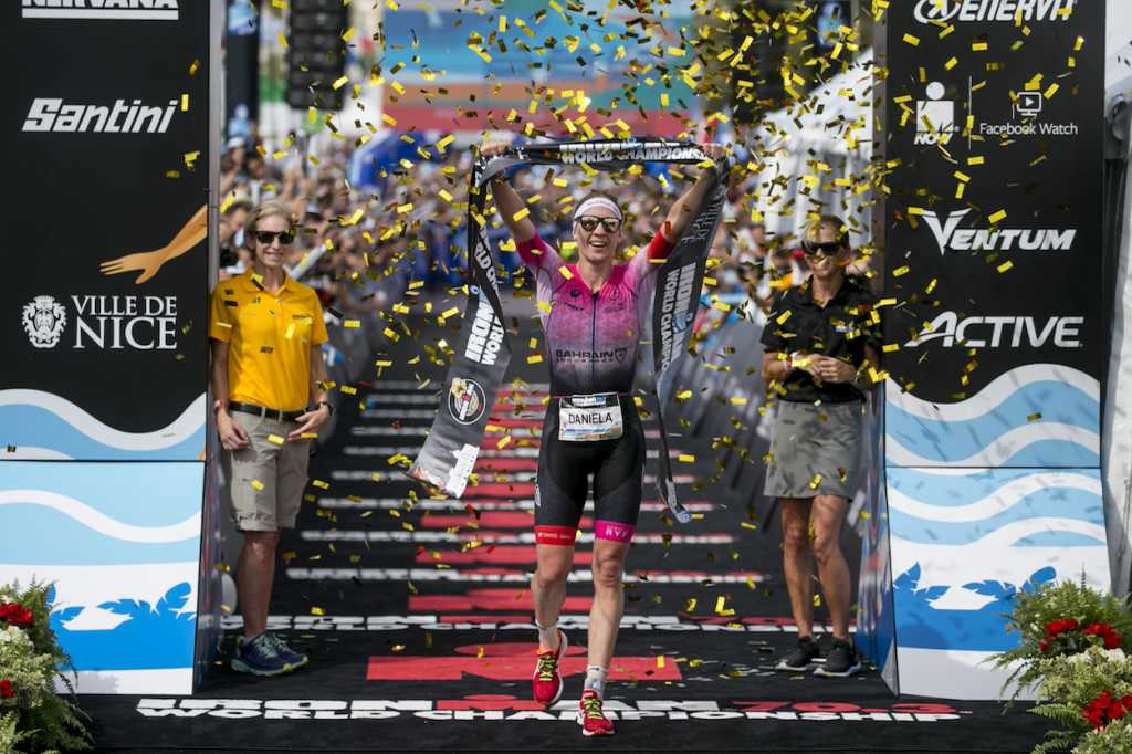 NICE, FRANCE - SEPTEMBER 07: Daniela Ryf of Switzerland reacts after winning the IRONMAN 70.3 World Championship Nice on September 07, 2019 in Nice, France. (Photo by Jan Hetfleisch/Getty Images for IRONMAN)