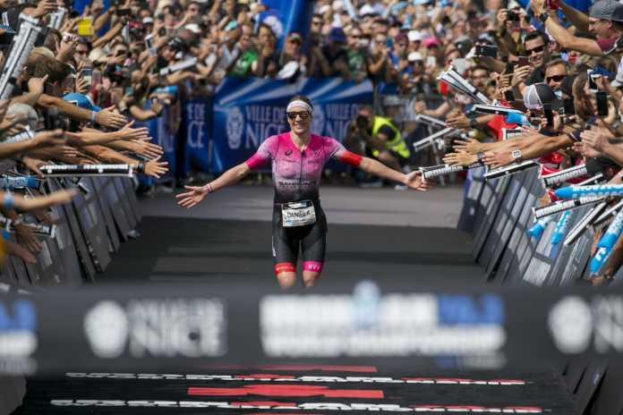 NICE, FRANCE - SEPTEMBER 07: Daniela Ryf of Switzerland reacts after winning the IRONMAN 70.3 World Championship Nice on September 07, 2019 in Nice, France. (Photo by Jan Hetfleisch/Getty Images for IRONMAN)