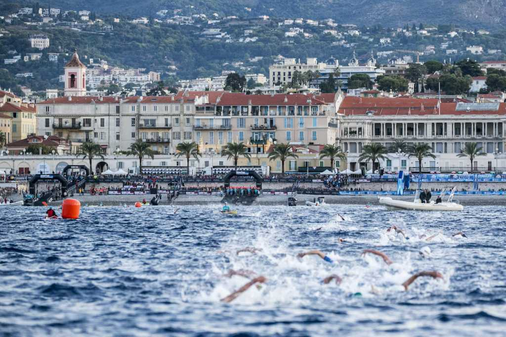 NICE, FRANCE - SEPTEMBER 07: Athletes compete in the swim leg of the IRONMAN 70.3 World Championship Nice on September 07, 2019 in Nice, France. (Photo by Jan Hetfleisch/Getty Images for IRONMAN)