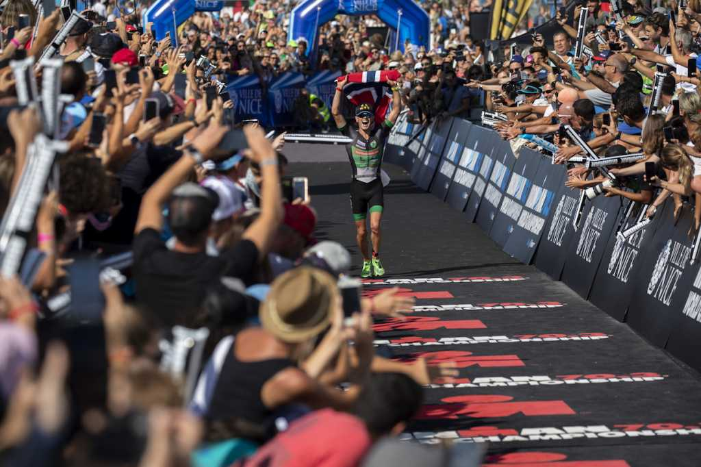 NICE, FRANCE - SEPTEMBER 08: Gustav Iden of Norway celebrates winning IRONMAN 70.3 World Championship Men on September 08, 2019 in Nice, France. (Photo by Pablo Blazquez Dominguez/Getty Images for IRONMAN)