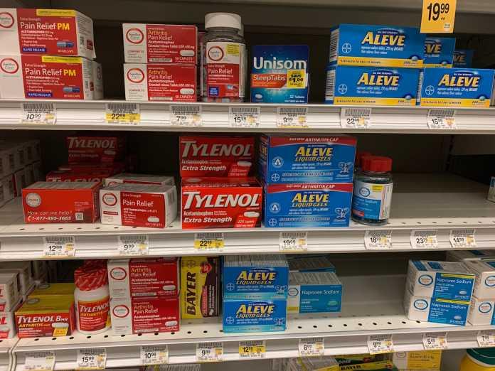 Schmerzmittel sind in den USA meist rezeptfrei im Supermarkt erhältlich